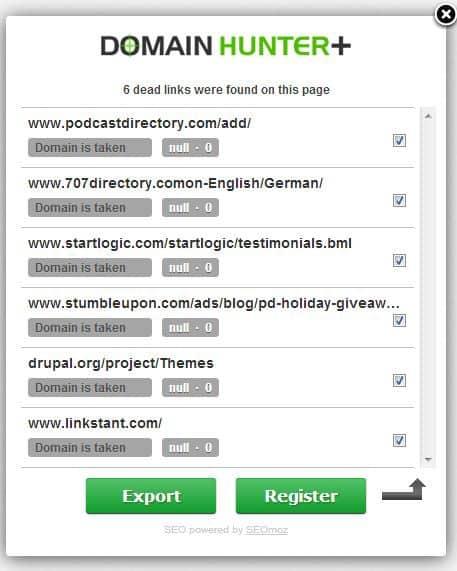 domain hunter - Ücretsiz SEO Link Araçları